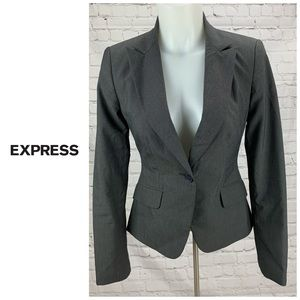 Express Design Studio Gray One Button Blazer